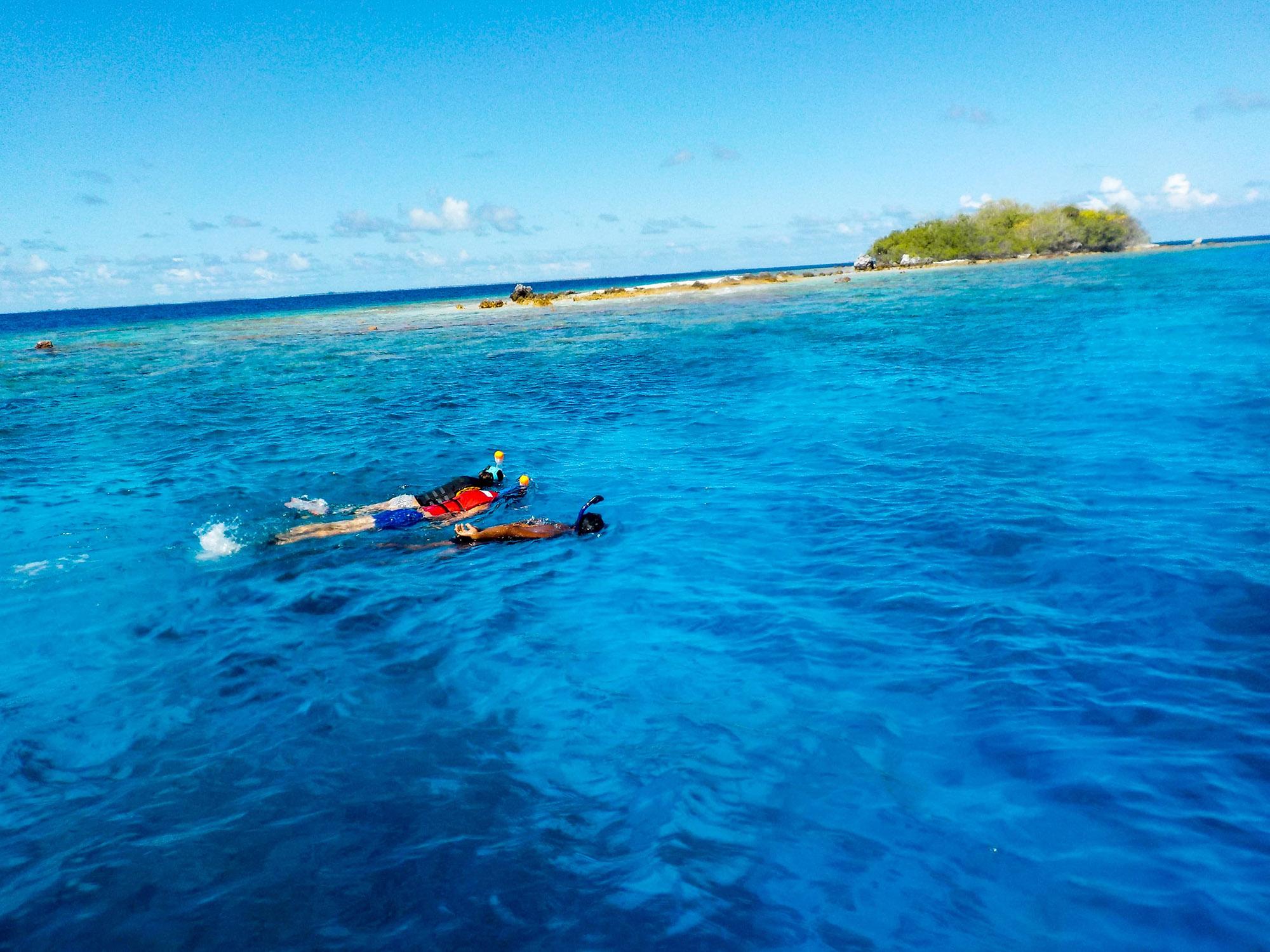 Snorkeling en eau turquoise.